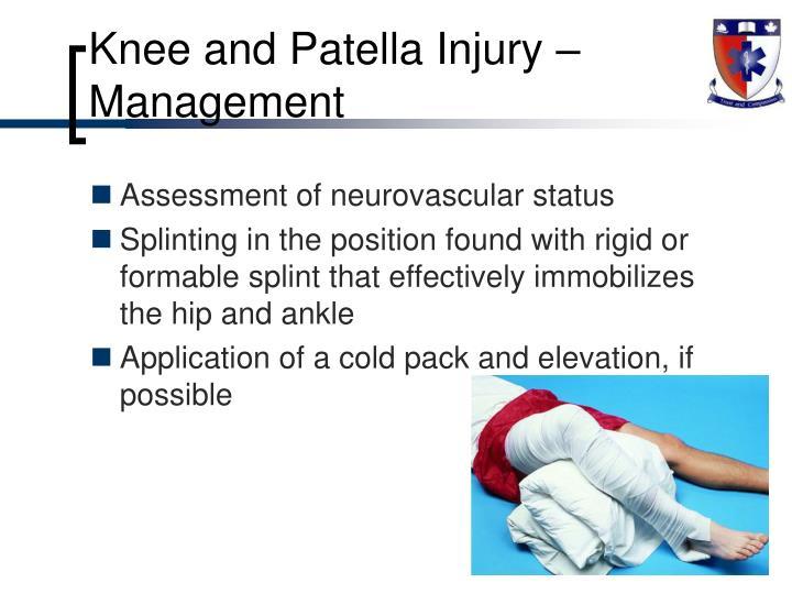 Knee and Patella Injury – Management