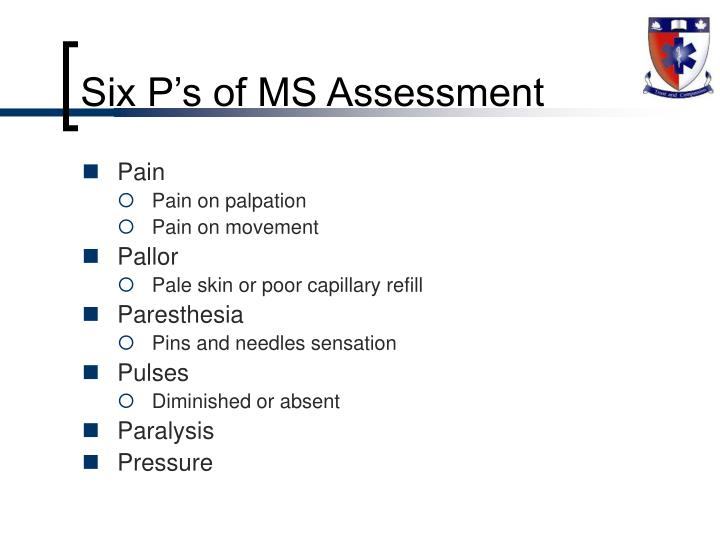 Six P's of MS Assessment