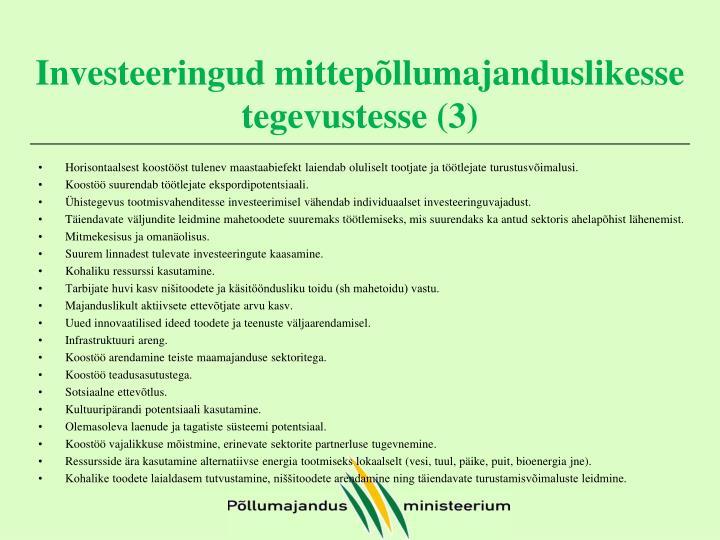 Investeeringud mittepõllumajanduslikesse tegevustesse (3)