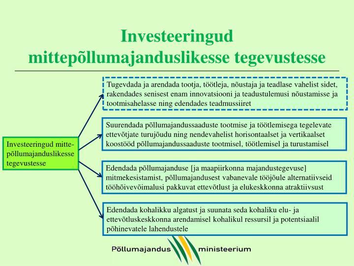 Investeeringud mittepõllumajanduslikesse tegevustesse
