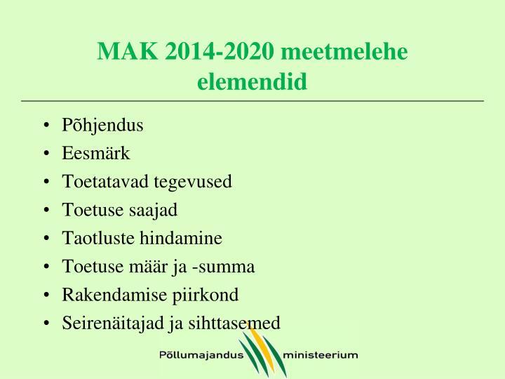 MAK 2014-2020 meetmelehe elemendid