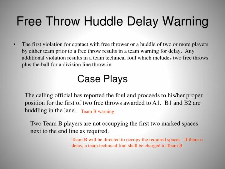 Free Throw Huddle Delay Warning
