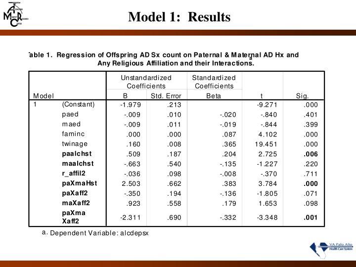 Model 1:  Results