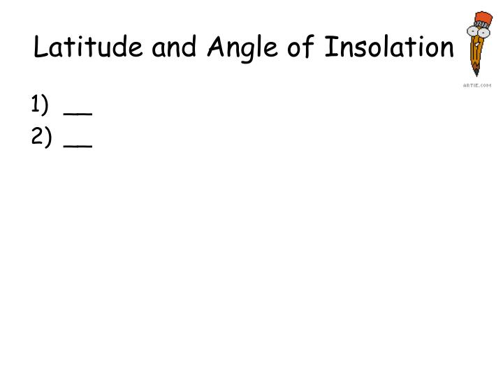 Latitude and Angle of Insolation