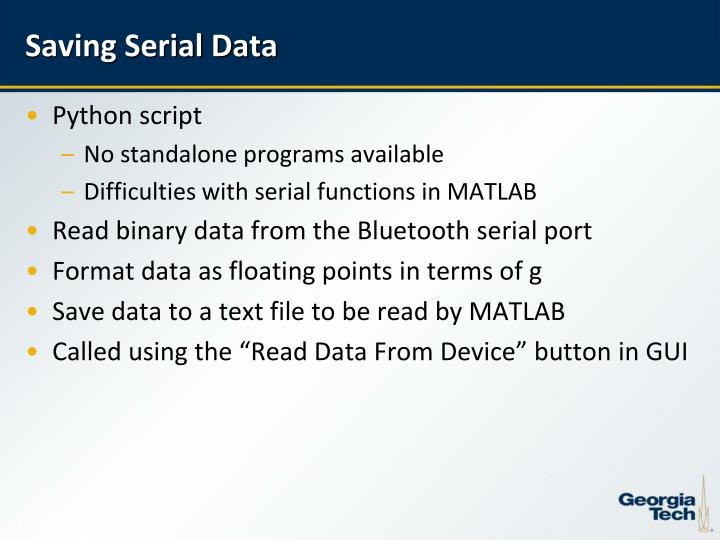 Saving Serial Data