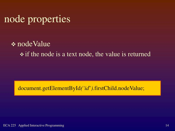 node properties