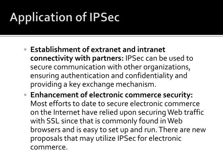 Application of IPSec
