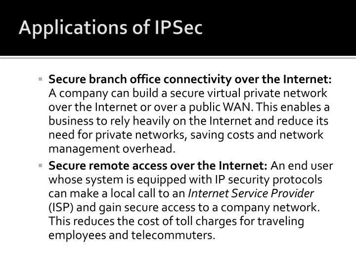 Applications of IPSec