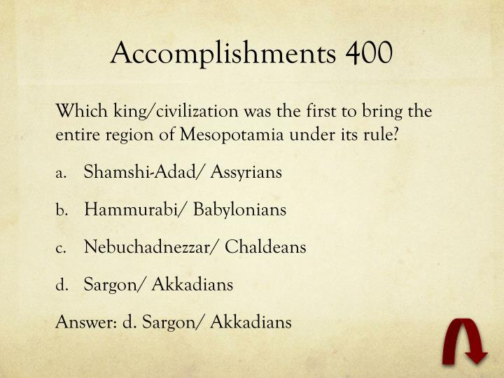 Accomplishments 400