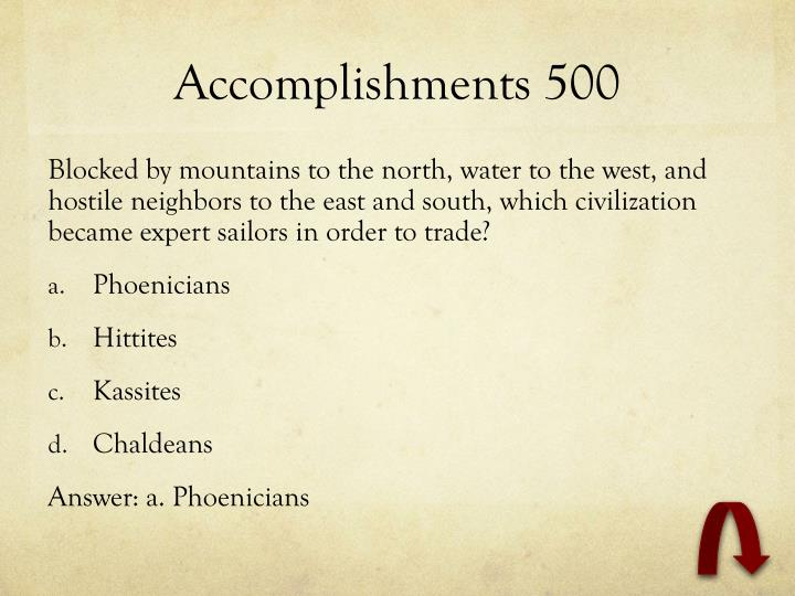Accomplishments 500
