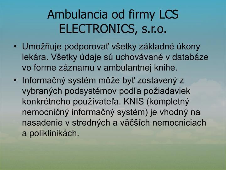 Ambulancia od firmy