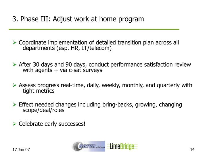 3. Phase III: Adjust work at home program