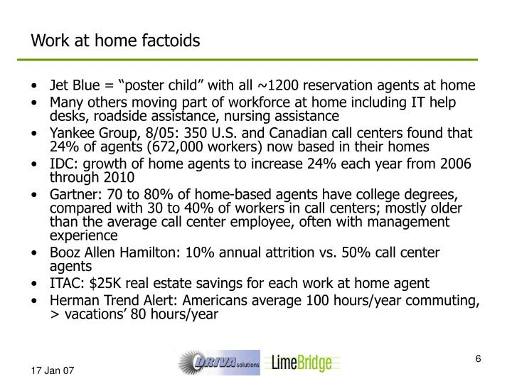 Work at home factoids