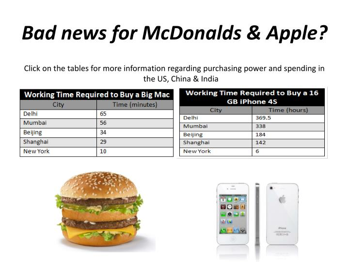 Bad news for McDonalds & Apple?