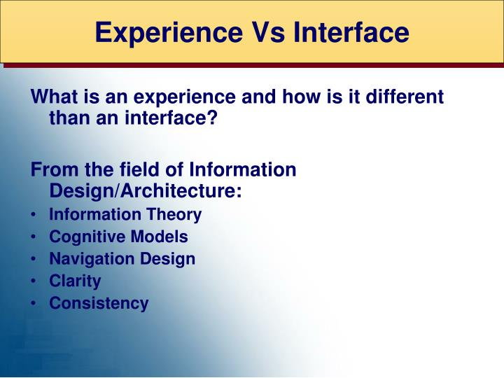 Experience Vs Interface
