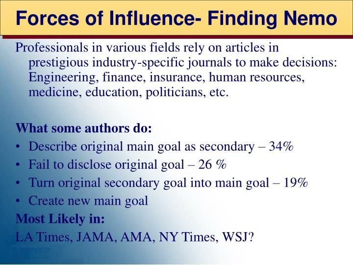 Forces of Influence- Finding Nemo