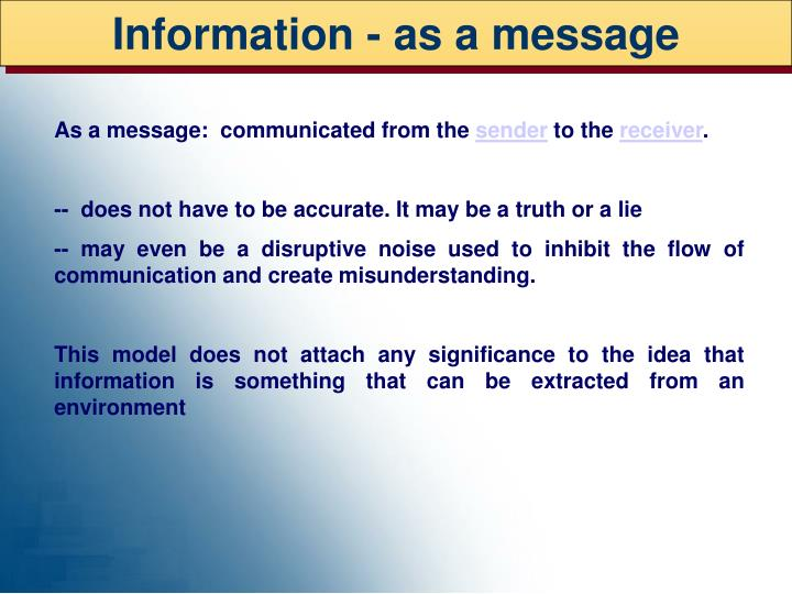 Information - as a message