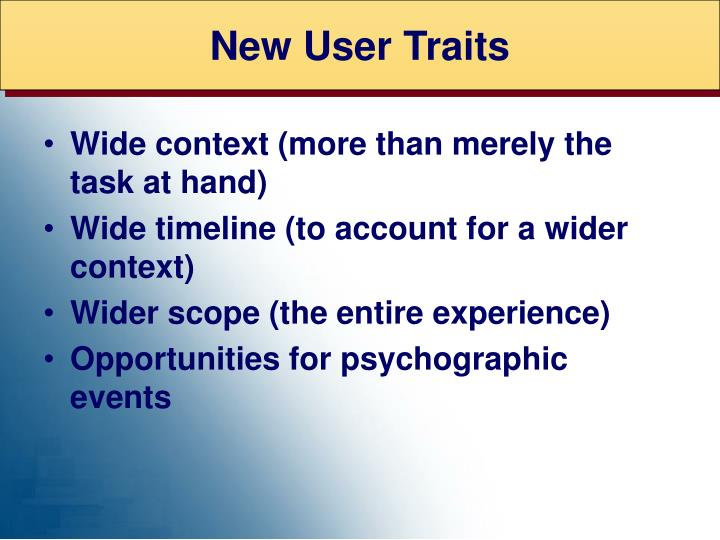 New User Traits