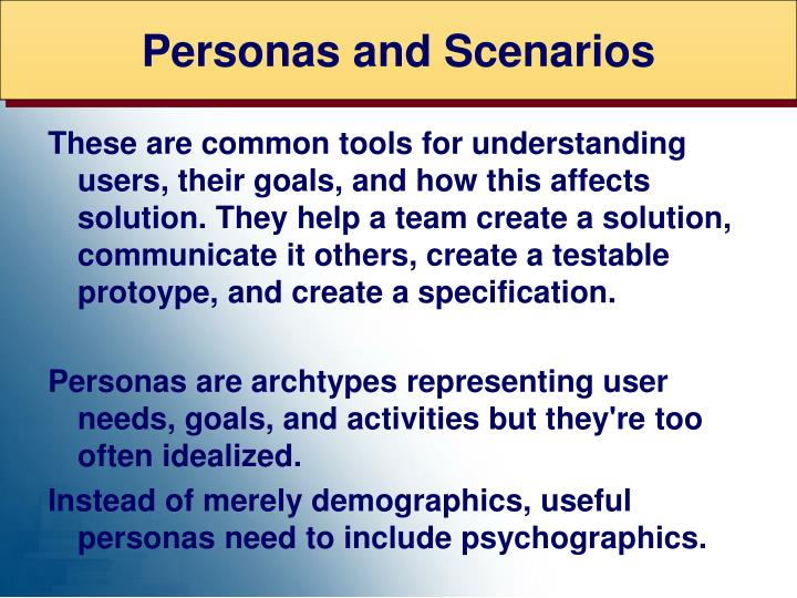 Personas and Scenarios
