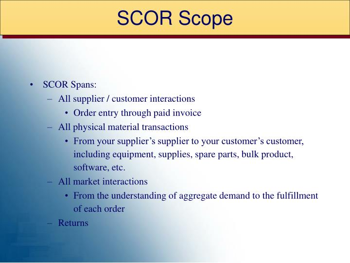 SCOR Scope