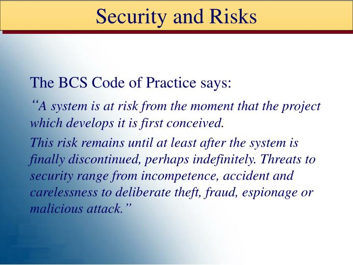 Security and Risks
