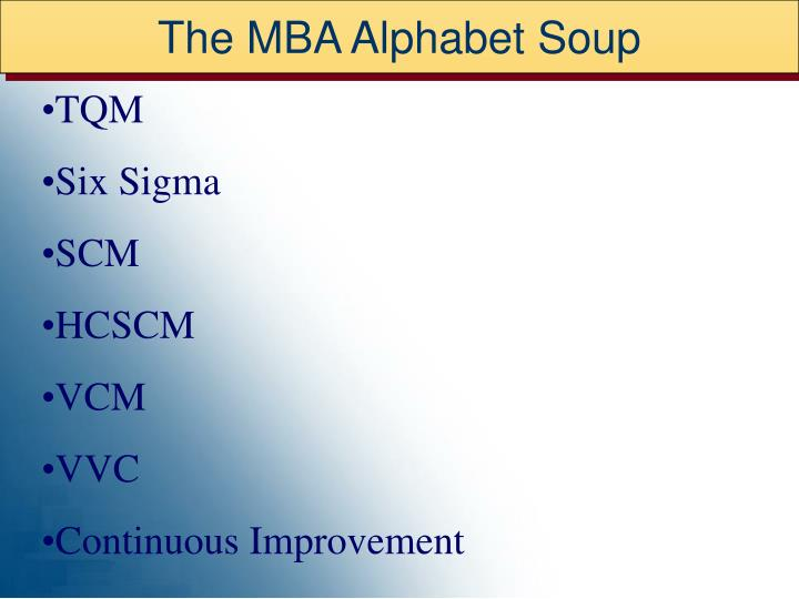 The MBA Alphabet Soup