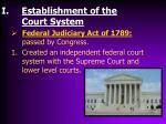 establishment of the court system