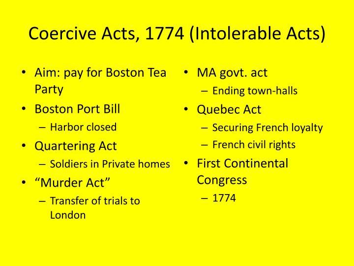 Coercive Acts, 1774 (Intolerable Acts)