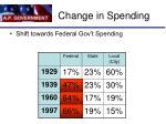 change in spending