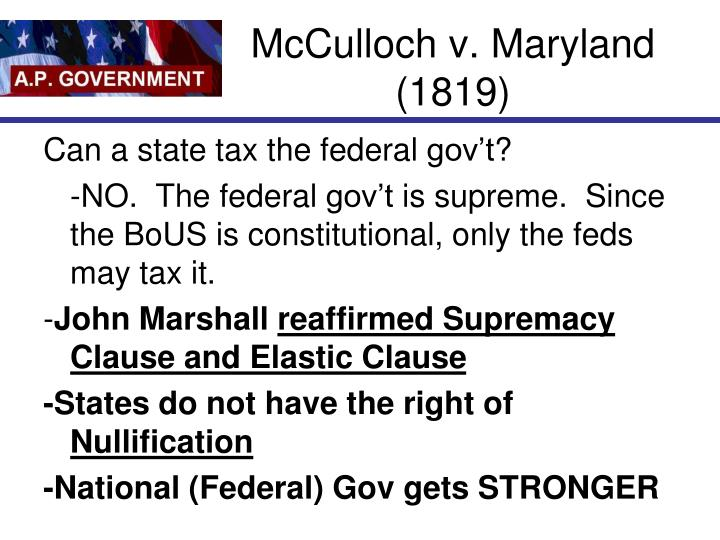 McCulloch v. Maryland (1819)