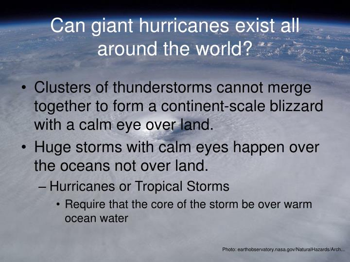 Can giant hurricanes exist all around the world?