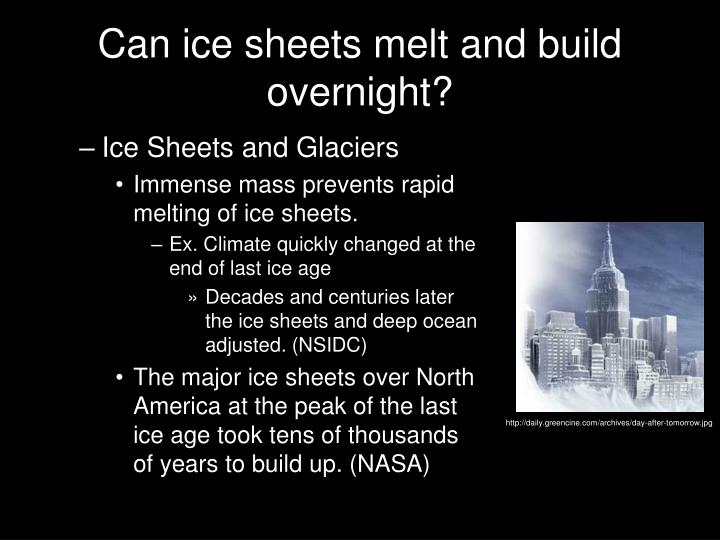 Can ice sheets melt and build overnight?