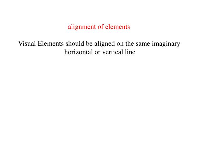 alignment of elements
