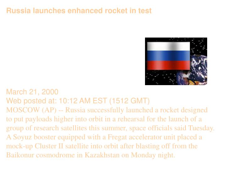 Russia launches enhanced rocket in test