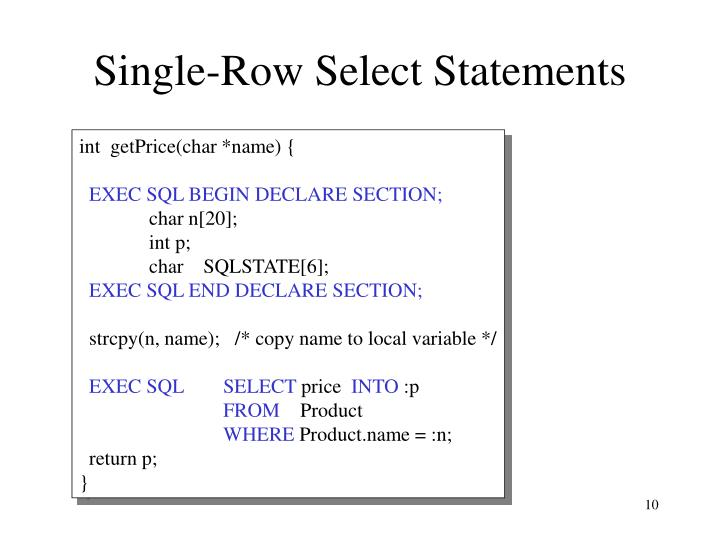Single-Row Select Statements