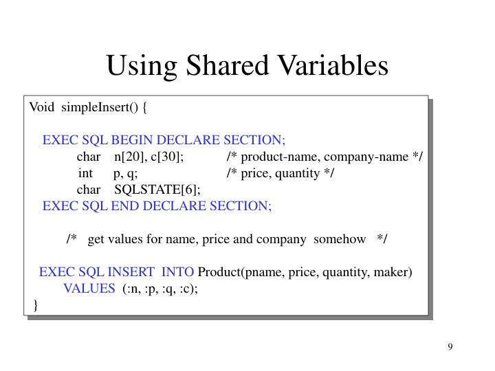 Using Shared Variables