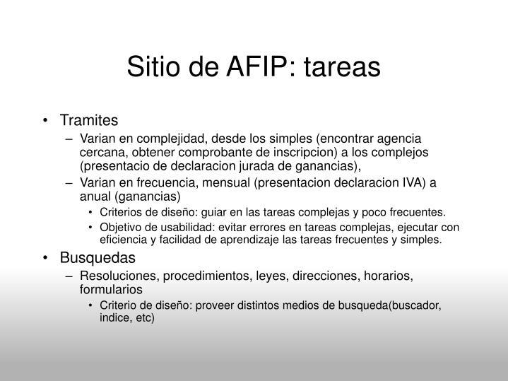 Sitio de AFIP: tareas