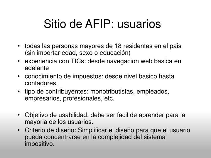 Sitio de AFIP: usuarios