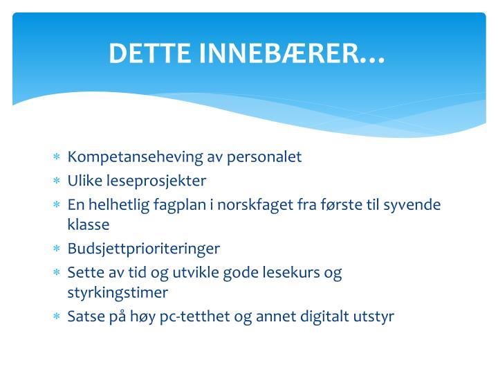 DETTE INNEBÆRER…