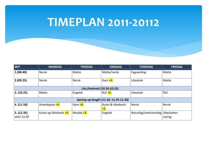 TIMEPLAN 2011-20112