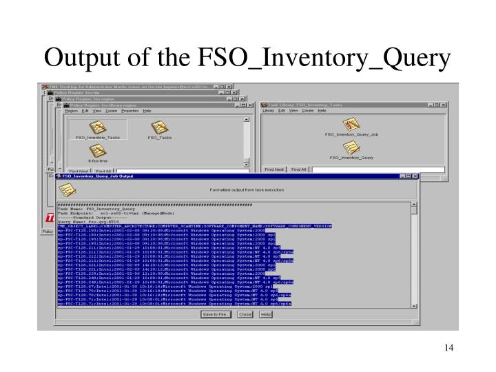 Output of the FSO_Inventory_Query