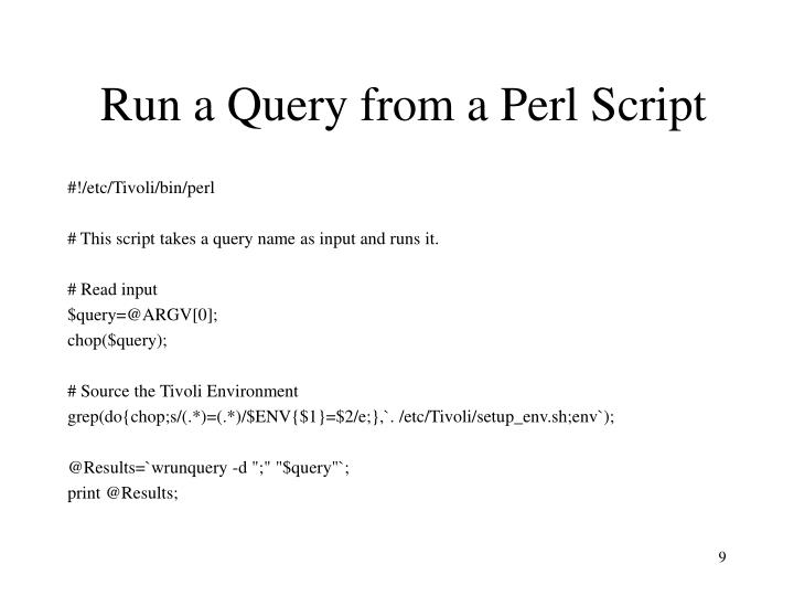 Run a Query from a Perl Script