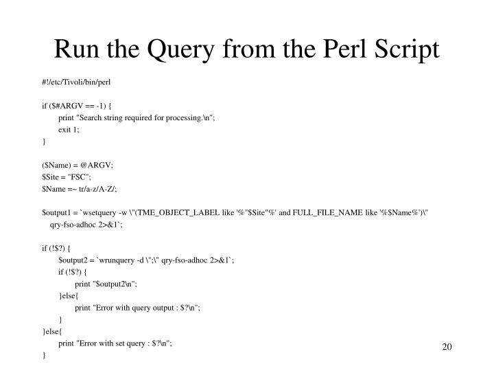 Run the Query from the Perl Script