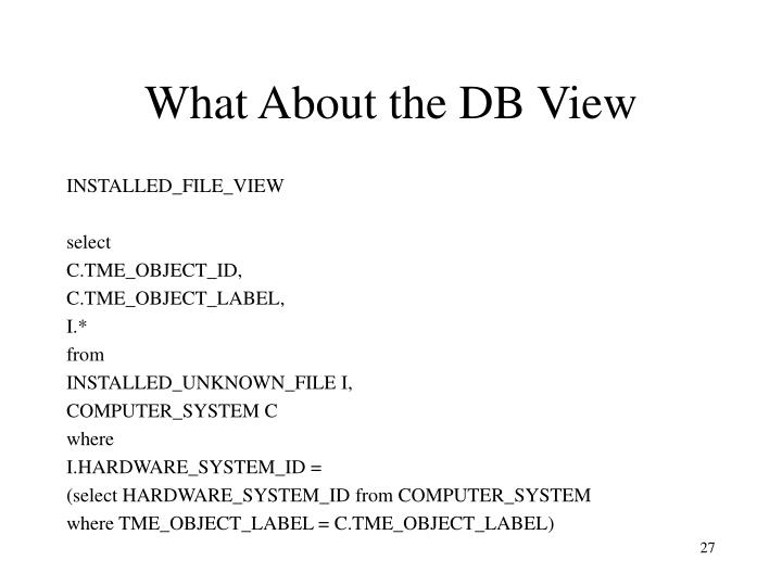 What About the DB View