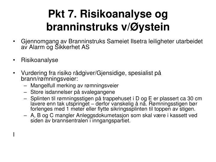 Pkt 7. Risikoanalyse og branninstruks v/Øystein