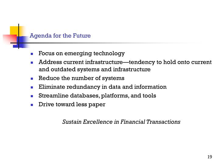 Agenda for the Future