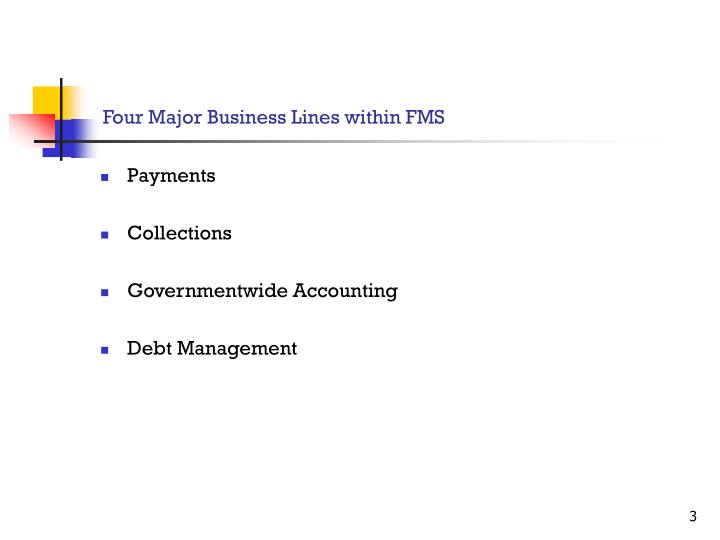 Four major business lines within fms
