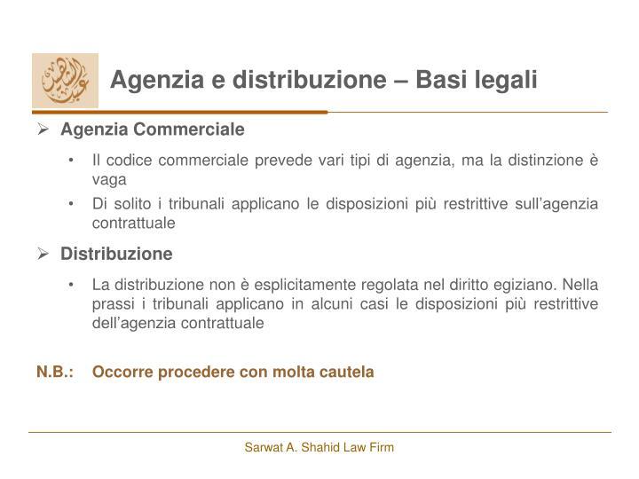 Agenzia e distribuzione – Basi legali
