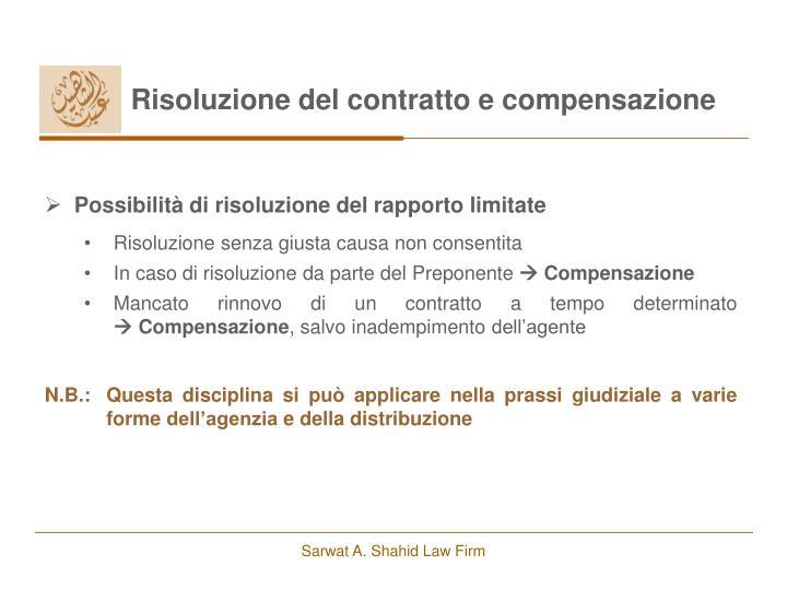 Risoluzione del contratto e compensazione