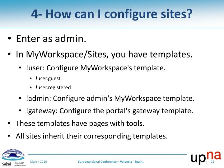 4- How can I configure sites?